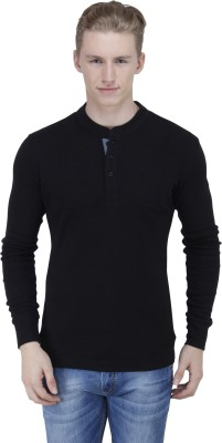 Lotto Solid Men's Henley Black T-Shirt