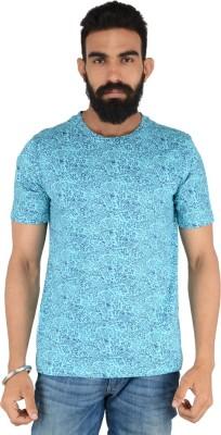 Download Apparel Floral Print Men,s Round Neck Blue T-Shirt