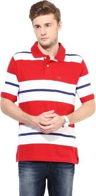 UV&W Striped Men's Polo Neck Red T-Shirt