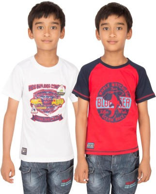 Ocean Race Graphic Print Boy's Round Neck White, Red T-Shirt