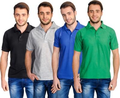 Superjoy Solid Men's Polo Neck Grey, Black, Blue, Green T-Shirt