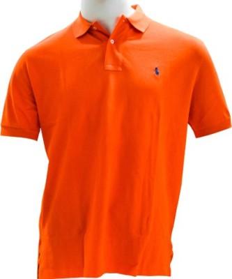 Ralph Lauren Solid Men's Flap Collar Neck Orange T-Shirt