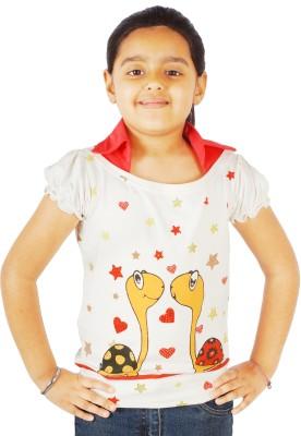 Naughty Ninos Embellished Girl's Round Neck White T-Shirt