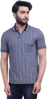 Hoffmen Self Design Men's Polo Neck Black T-Shirt