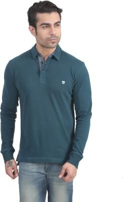 John Players Solid Men's Polo Neck Green T-Shirt