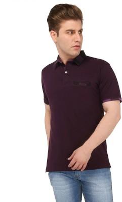 Nick & Jess Solid Men's Polo Purple T-Shirt