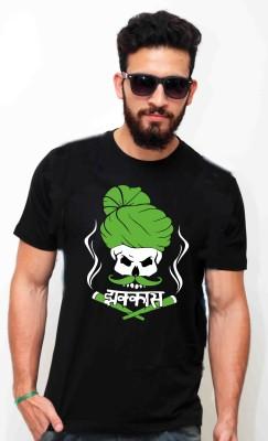 Sukhiaatma Printed Men's Round Neck Black T-Shirt