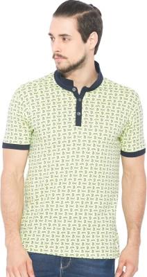 Status Quo Printed Men's Polo Neck Green T-Shirt