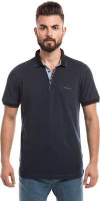 Prym Solid Men's Polo Neck Dark Blue T-Shirt