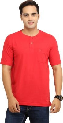 WallWest Solid Men's Henley Red T-Shirt