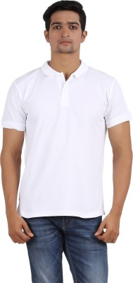 Anytime Solid Men's Polo Neck White T-Shirt