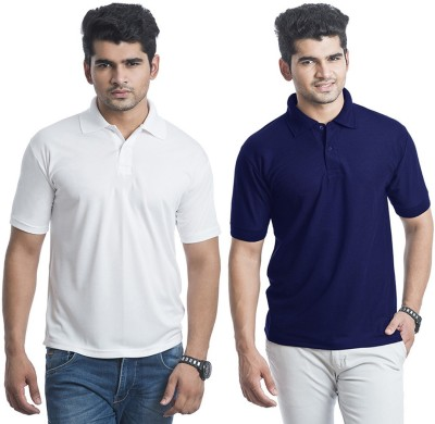 Bainsons Solid Men's Polo Blue, White T-Shirt