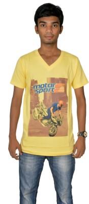Revinfashions Graphic Print Men's V-neck Reversible Yellow T-Shirt