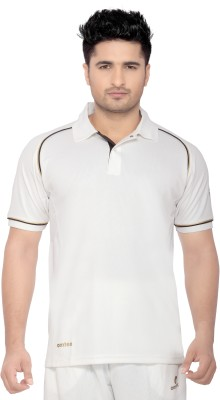 Omtex Solid Men's Polo Neck White T-Shirt