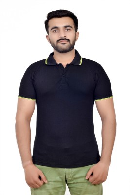 Parv Collections Solid Men's Polo Neck Black T-Shirt