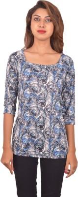 Blueash Floral Print Women's Boat Neck Multicolor T-Shirt