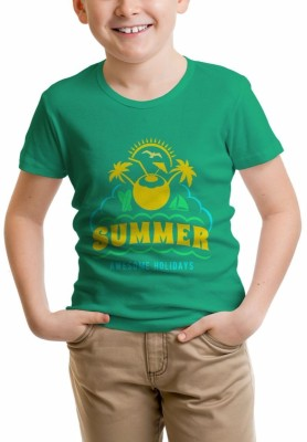 Nahshonbaby Graphic Print Boy's Polo Neck Green T-Shirt