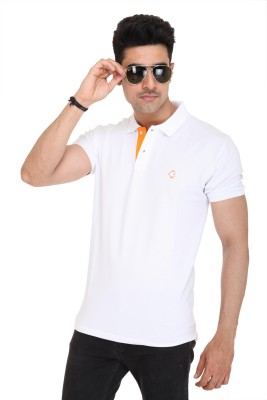 Colors and Blends Solid Men,s Polo Neck White T-Shirt