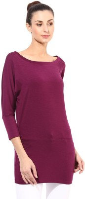 T-shirt Company Solid Women's Round Neck Purple T-Shirt