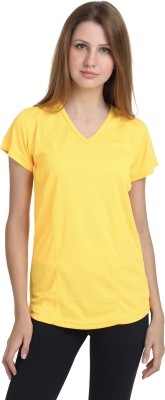 T10 Sports Solid Women's V-neck Yellow T-Shirt