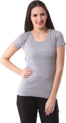 Fashionexpo Solid Women's Round Neck Grey T-Shirt