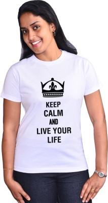 Zorba Mart Printed Women's Round Neck White T-Shirt