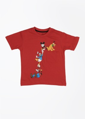 Mickey Mouse Printed Boy's Round Neck Red T-shirt