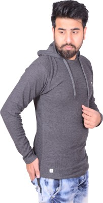 Zrestha Solid Men's Hooded Grey T-Shirt