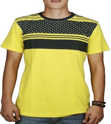 #Ootd Graphic Print Men's Round Neck Yellow T-Shirt