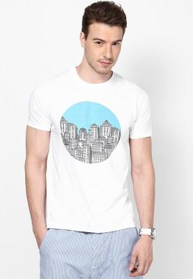 Blotch Printed Men's Round Neck White T-Shirt