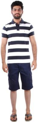Indian Terrain Striped Men's Polo Blue T-Shirt