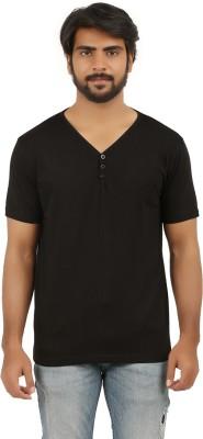 Broken Treads Solid Men's Henley Black T-Shirt
