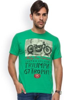 Blue Monkey Printed Men's Round Neck Green T-Shirt
