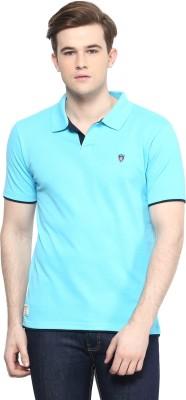 Ziera Solid Men's Polo Neck Blue T-Shirt