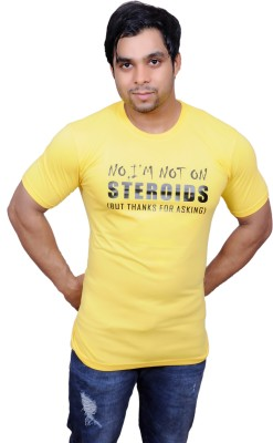 GYM JUNKEES Printed Men's Round Neck Yellow T-Shirt