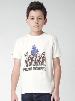 WROGN Graphic Print Boy's Round Neck White T-Shirt
