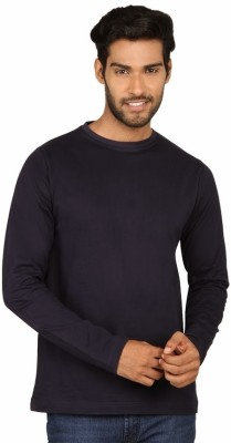 SayItLoud Solid Men's Round Neck Dark Blue T-Shirt