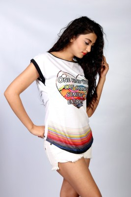 IRTALUCY Printed Women's Boat Neck Multicolor T-Shirt