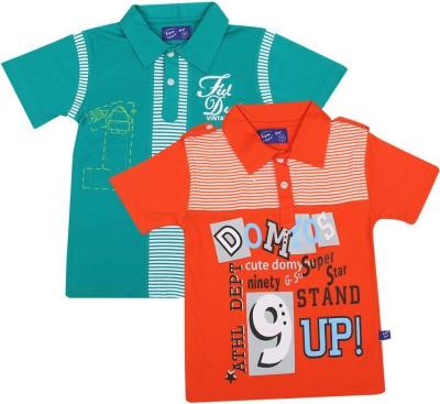 SPN Garments Printed Boy's Polo Neck Green, Orange T-Shirt