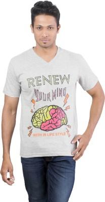 Oviyon Printed Men's V-neck Grey T-Shirt