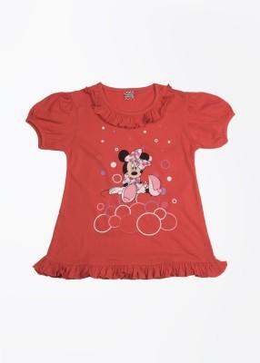 Cherish Printed Girl,s Round Neck Red T-Shirt