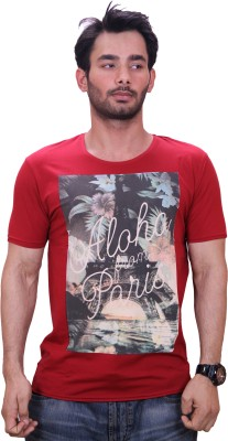 Qubic Printed Men's Round Neck Red T-Shirt