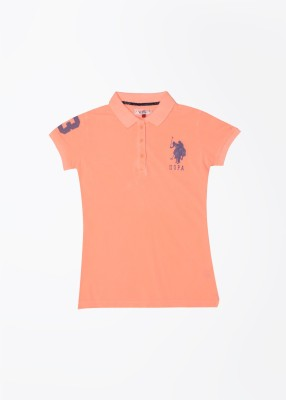 U.S. Polo Assn. Solid Girl,s Polo Orange T-Shirt