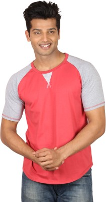 Poshuis Solid Men's Round Neck Grey, Red T-Shirt