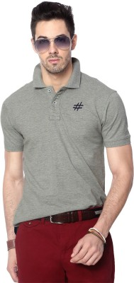People Solid Men's Polo Neck Grey T-Shirt