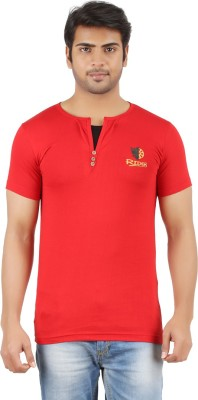 Togswear Embroidered Men's Henley Red T-Shirt