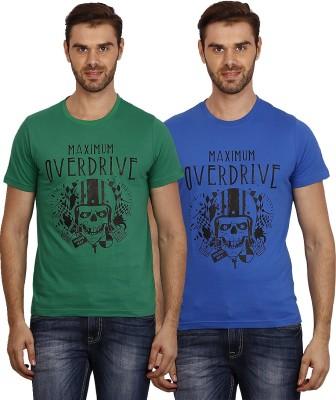 Crush on Craze Printed Men's Round Neck Green, Blue T-Shirt