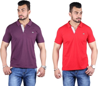 Shineway Solid Men's Polo Neck Purple, Red T-Shirt
