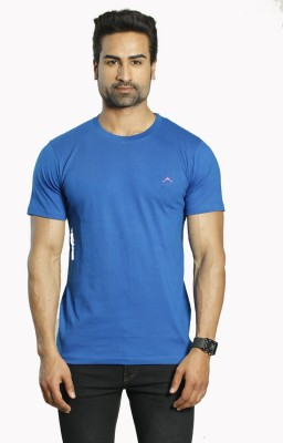 ALBITEN Solid Men's Round Neck Blue T-Shirt