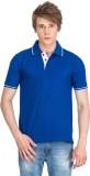 Xplore Solid Men's Flap Collar Neck Blue...